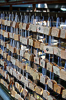 Wooden Ema plaques at the Meiji Shrine in Tokyo, Japan