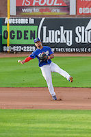 Kelvin Ramos (8) the Ogden Raptors shortstop throws to first base in action against the Idaho Falls Chukars in Pioneer League action at Lindquist Field on August 26, 2015 in Ogden, Utah.Ogden defeated the Chukars 5-1. (Stephen Smith/Four Seam Images)