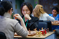 31st December 2019, Moscow, Russia; Lei Tingjie 2nd L and Tan Zhongyi 1st L of China compete in the Blitz Women penultimate round at 2019 King Salman World Rapid & Blitz Chess Championship in Moscow, Russia