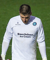Goalkeeper Matt Ingram of Wycombe Wanderers who misses the Aston Villa FA Cup match after being sent off during the Sky Bet League 2 match between Wycombe Wanderers and Morecambe at Adams Park, High Wycombe, England on 2 January 2016. Photo by Kevin Prescod / PRiME Media Images