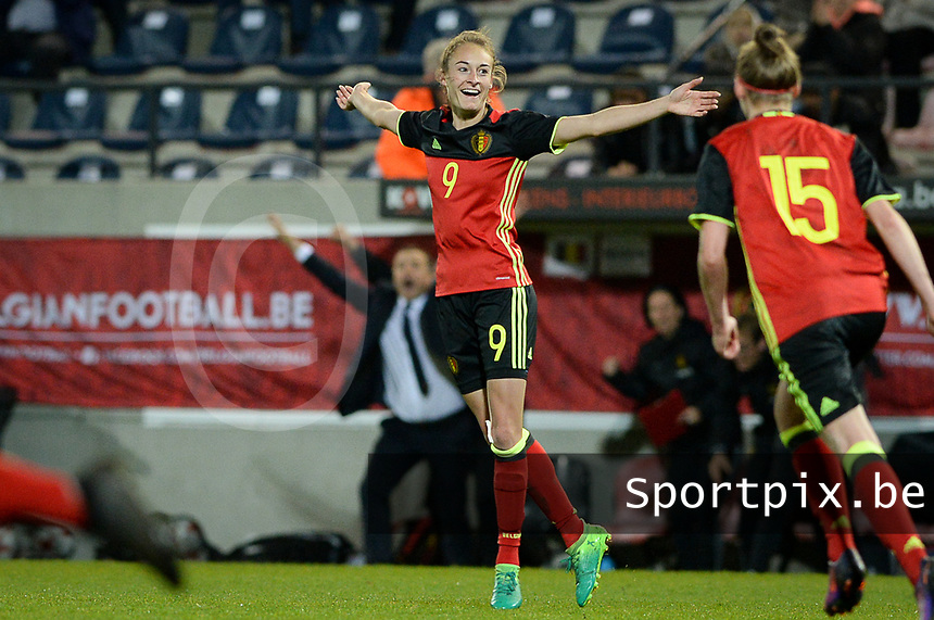 20170411 - LEUVEN ,  BELGIUM : Belgian Tessa Wullaert pictured celebrating her goal and the 3-0 lead for Belgium during the friendly female soccer game between the Belgian Red Flames and Scotland , a friendly game in the preparation for the European Championship in The Netherlands 2017  , Tuesday 11 th April 2017 at Stadion Den Dreef  in Leuven , Belgium. PHOTO SPORTPIX.BE | DAVID CATRY