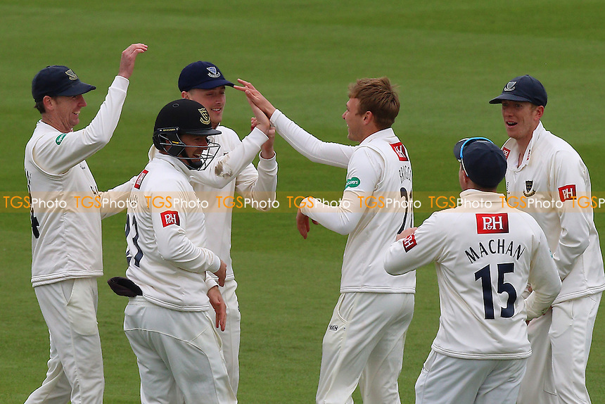 Danny Briggs of Sussex (3rd R) is congratulated by his team mates after taking the wicket of Tom Westley during Sussex CCC vs Essex CCC, Specsavers County Championship Division 2 Cricket at The 1st Central County Ground on 18th April 2016