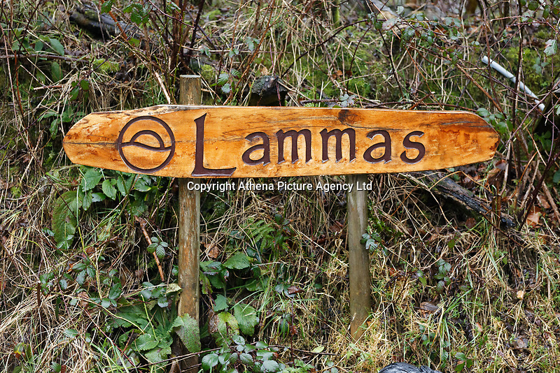 Pictured: The Lammas village sign. Friday 05 January 2017<br /> Re: A house that was featured in Channel 4 programme Grand Designs has been destroyed in a fire. The house, owned by Simon and Jasmine Dale is located at the Lammas Eco village near Glandwr in west Wales, UK.