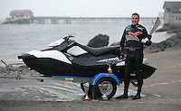 Pictured: Damien Evans on his jet ski in Mumbles, Wales, UK. Tuesday 14 February 2017<br /> Re: Damien Evans, a CrossCountry Train Driver who was crowned British jet ski champion in 2014 and 2015