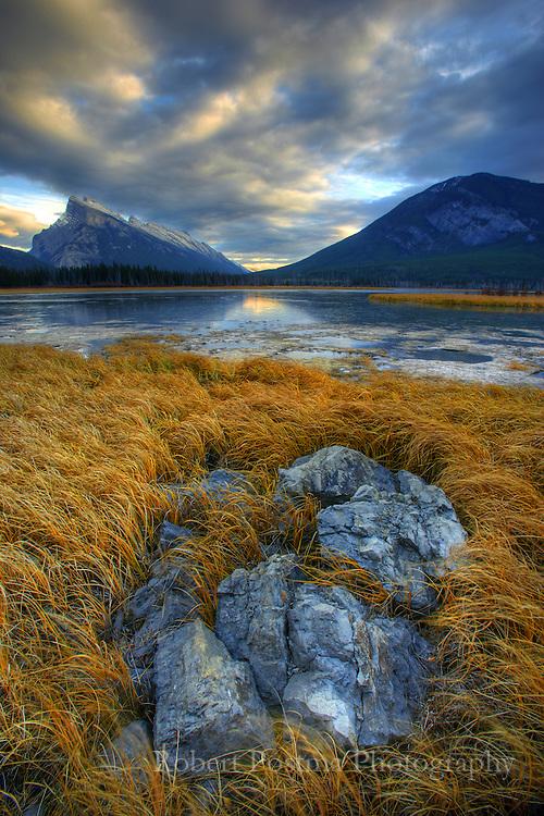Sunset over the lake near Banff, Alberta.