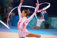 August 23, 2008; Beijing, China; Rhythmic gymnast Almudena Cid of Cid turns with ribbon on way to placing 8th in the All-Around final at 2008 Beijing Olympics. Almudena's 4th Olympics!.(©) Copyright 2008 Tom Theobald