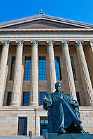 Art Deco facade, Philadelphia Museum of Art, Phila. PA, Pennsylvania, USA, Overlooking one of the nation's most culturally vibrant cities