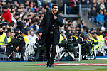 Atletico de Madrid´s coach Diego Pablo Simeone during 2015/16 La Liga match between Real Madrid and Atletico de Madrid at Santiago Bernabeu stadium in Madrid, Spain. February 27, 2016. (ALTERPHOTOS/Victor Blanco)