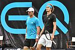 11.06.2019, Tennisclub Weissenhof e. V., Stuttgart, GER, Mercedes Cup 2019, ATP 250, Oliver MARACH (AUT) Juergen MELZER (AUT) [4] vs Alexander ZVEREV (GER) Mischa ZVEREV (GER)<br /> <br /> im Bild v. l. Mischa ZVEREV (GER) Alexander ZVEREV (GER)<br /> <br /> <br /> Foto © nordphoto/Mauelshagen