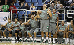 The Green Valley bench reacts to play in the final seconds of their semi-final game in the NIAA 4A State Basketball Championships between Hug and Green Valley high schools at Lawlor Events Center in Reno, Nev, on Thursday, Feb. 23, 2012. Hug won 70-68..Photo by Cathleen Allison