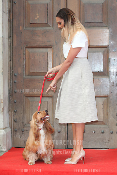 Alesha Dixon and her dog Prince attending a photocall for 'Britain's Got Talent' at St Luke's Church, London. 09/04/2014 Picture by: Alexandra Glen / Featureflash