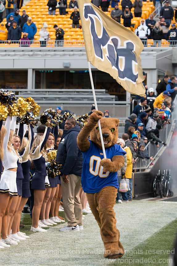 Pitt Panther mascot. The Pitt Panther defeated the Duke Blue Devils 56-14 at Heinz Field in Pittsburgh, Pennsylvania on November 19, 2016.