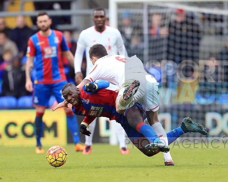 Crystal Palace's Bakery Sako tussles with Liverpool's Dejan Lovren<br /> <br /> - English Premier League - Crystal Palace vs Liverpool  - Selhurst Park - London - England - 6th March 2016 - Pic David Klein/Sportimage