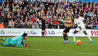 Bafetimbi Gomis of Swansea (R) looks on as his shot is saved by Petr Cech of Arsenal (L) during the Barclays Premier League match between Swansea City and Arsenal at the Liberty Stadium, Swansea on October 31st 2015