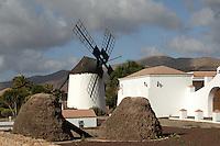 Windmill in Fuerteventura countryside, Canary Islands Spain.