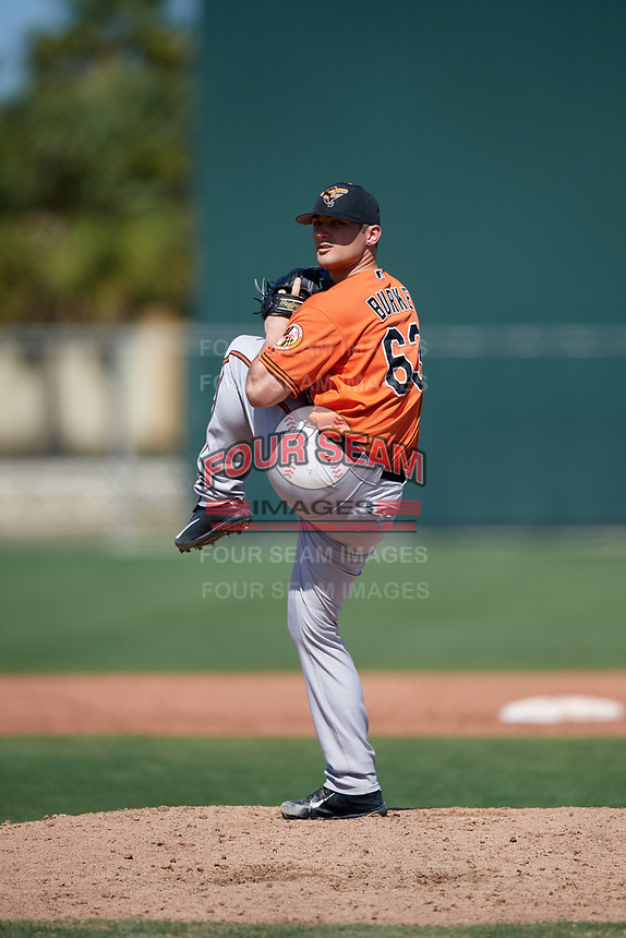 Baltimore Orioles pitcher Mike Burke (63) during a Minor League Spring Training game against the Boston Red Sox on March 17, 2018 at the jetBlue Park Complex in Fort Myers, Florida.  (Mike Janes/Four Seam Images)