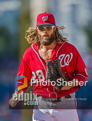 19 September 2015: Washington Nationals outfielder Jayson Werth returns to the dugout during a game against the Miami Marlins at Nationals Park in Washington, DC. The Nationals defeated the Marlins 5-2 in the third game of their 4-game series. Mandatory Credit: Ed Wolfstein Photo *** RAW (NEF) Image File Available ***