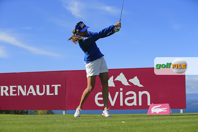 Alison Walshe (USA) tees off the 16th tee during Friday's Round 2 of The Evian Championship 2014 held at the Evian Resort Golf Club, Evian-les-Bains, France.: Picture Eoin Clarke, www.golffile.ie: 12th September 2014