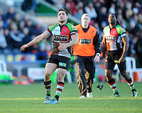 Ben Botica of Harlequins watches his kick go between the posts to win the Aviva Premiership match between Harlequins and Newcastle Falcons at the Twickenham Stoop on Saturday 15th February 2014 (Photo by Rob Munro)