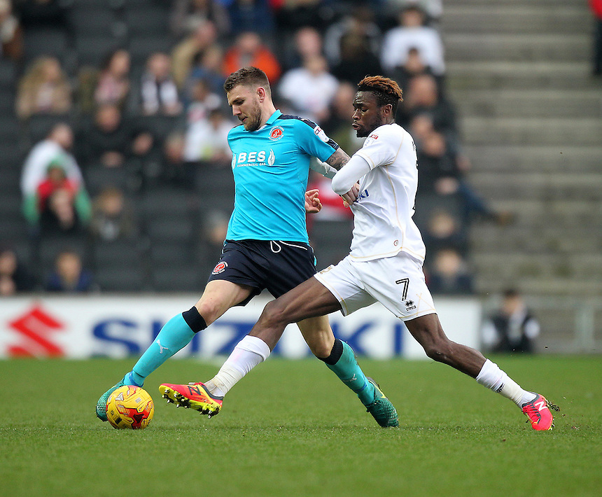 Fleetwood Town's Ashley Eastham in action with Milton Keynes Dons Maecky Ngombo<br /> <br /> Photographer /Mick Walker CameraSport<br /> <br /> The EFL Sky Bet League One - Milton Keynes Dons v Fleetwood Town - Saturday 18th February 2017 - Stadium:mk - Milton Keynes<br /> <br /> World Copyright &copy; 2017 CameraSport. All rights reserved. 43 Linden Ave. Countesthorpe. Leicester. England. LE8 5PG - Tel: +44 (0) 116 277 4147 - admin@camerasport.com - www.camerasport.com