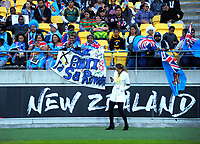 Fans in the grandstand during the 2017 Rugby League World Cup quarterfinal match between New Zealand Kiwis and Fiji at Wellington Regional Stadium in Wellington, New Zealand on Saturday, 18 November 2017. Photo: Dave Lintott / lintottphoto.co.nz