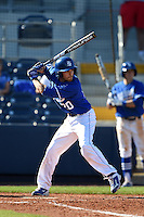 Indiana State Sycamores pinch hitter Manuel Estevez (20) at bat during a game against the Vanderbilt Commodores on February 21, 2015 at Charlotte Sports Park in Port Charlotte, Florida.  Indiana State defeated Vanderbilt 8-1.  (Mike Janes/Four Seam Images)