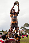 Alipini Olosoni takes uncontested lineout ball. Counties Manukau Premier Club Rugby game between Patumahoe & Karaka played at Patumahoe on Saturday June 13th 2009. Patumahoe lead 8 - 0 at halftime and went on to win 20 - 0.