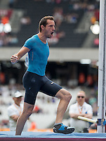 Renaud LAVILLENIE of France celebrates during the Sainsbury's Anniversary Games, Athletics event at the Olympic Park, London, England on 25 July 2015. Photo by Andy Rowland.