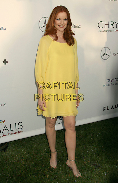 MARCIA CROSS.Sixth Annual Chrysalis Butterfly Ball held at the Home of Susan Harris and Hayward Kaiser, Mandeville Canyon, California, USA..June 2nd, 2007.full length yellow smock tunic dress .CAP/ADM/RE.©Russ Elliot/AdMedia/Capital Pictures *** Local Caption *** ..