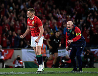 Owen Farrell celebrates kicking an equaliser during the 2017 DHL Lions Series rugby union 3rd test match between the NZ All Blacks and British & Irish Lions at Eden Park in Auckland, New Zealand on Saturday, 8 July 2017. Photo: Dave Lintott / lintottphoto.co.nz