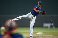 Salem Red Sox relief pitcher Joan Martinez (25) follows through on his delivery against the Winston-Salem Dash at BB&T Ballpark on April 21, 2018 in Winston-Salem, North Carolina.  The Dash walked-off the Red Sox 4-3.  (Brian Westerholt/Four Seam Images)