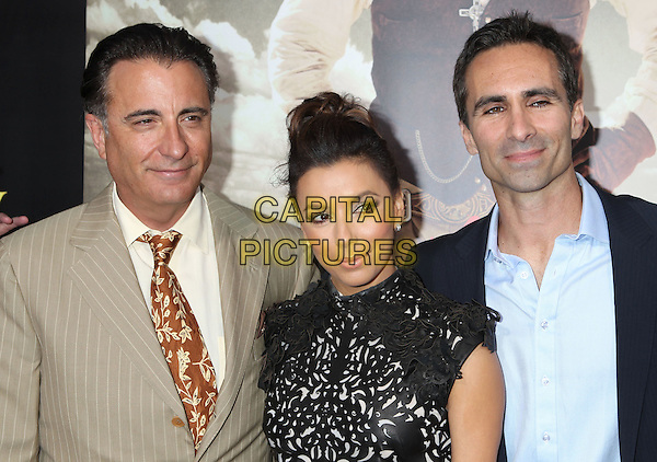 Andy Garcia, Eva Longoria, Nestor Carbonell.'For Greater Glory' LA premiere held at the AMPAS Samuel Goldwyn Theater, Beverly Hills, California, USA..31st May 2012 .headshot portrait beige suit jacket white shirt tie brown blue shirt black leather perforated pattern hair up bun .CAP/ADM/RE.©Russ Elliot/AdMedia/Capital Pictures.