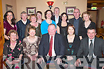 RETIREMENT: Honouring Jerome Conway (Principal of Scoil Mhuire Killorglin) at his retirement party in the Beaufort Bar last Friday night were, front row l-r: Nora May Kelleher (Cullina NS), Mairead Ui Bhric (Killorglin INTO Treasurer), Jerome Conway, Leona Twiss (Killorglin INTO Chairperson) and Seamus Long (CEC representative). Back row l-r: Muireann Seoighe (Scoil Mhuire), Vincent Moriarty (Scoil Mhuire), Evelyn OShea (Curraheen NS), Mary ORiordan (Glenbeigh NS), Julie OSullivan (Scoil Mhuire), Tom Colgan (Scoil Mhuire), Delores Johnson (Douglas NS), Seamus Shaughnessy (Cromane NS) and Kathleen OMalley (St Francis Special School Beaufort)..