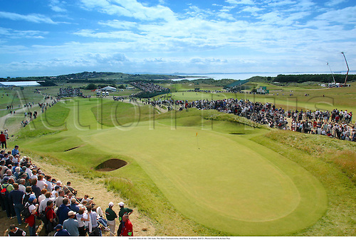 General View of the 13th hole, The Open Championship, Muirfield, Scotland, 020721. Photo:Glyn Kirk/Action Plus...Golf.2002.crowd crowds spectators spectator.course courses