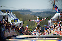 Anna van der Breggen (NLD/Rabobank-Liv) wins up the infamous Mur de Huy for a 2nd year in a row<br /> <br /> Flèche Wallonne 2016