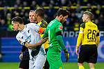 09.02.2019, Signal Iduna Park, Dortmund, GER, 1.FBL, Borussia Dortmund vs TSG 1899 Hoffenheim, DFL REGULATIONS PROHIBIT ANY USE OF PHOTOGRAPHS AS IMAGE SEQUENCES AND/OR QUASI-VIDEO<br /> <br /> im Bild | picture shows:<br /> Benjamin Huebner (Hoffenheim #21) entschuldigt sich bei Roman Buerki (Borussia Dortmund #1) nach dessen unabsichtlichen Foulspiel,  <br /> <br /> Foto © nordphoto / Rauch