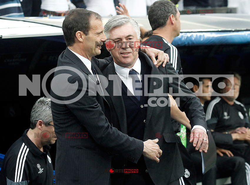 Real Madrid's coach Carlo Ancelotti (r) and Juventus' coach Massimiliano Allegri during Champions League 2014/2015 Semi-finals 2nd leg match.May 13,2015. (ALTERPHOTOS/Acero) /NortePhoto.COM