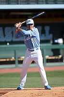 North Carolina Tar Heels Associate Head Coach Scott Forbes hits fungos during infield practice prior to the game against the Kentucky Wildcats at Boshmer Stadium on February 17, 2017 in Chapel Hill, North Carolina.  The Tar Heels defeated the Wildcats 3-1.  (Brian Westerholt/Four Seam Images)