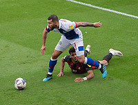Blackburn Rovers' Bradley Johnson (left) battles with Bournemouth's Dominic Solanke (right) <br /> <br /> Photographer David Horton/CameraSport <br /> <br /> The EFL Sky Bet Championship - Bournemouth v Blackburn Rovers - Saturday September 12th 2020 - Vitality Stadium - Bournemouth<br /> <br /> World Copyright © 2020 CameraSport. All rights reserved. 43 Linden Ave. Countesthorpe. Leicester. England. LE8 5PG - Tel: +44 (0) 116 277 4147 - admin@camerasport.com - www.camerasport.com