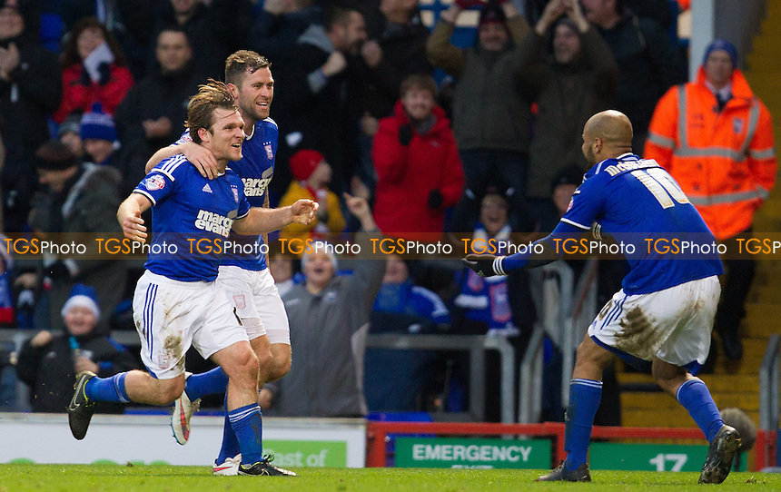 Jay Tabb of Ipswich Town celebrates the second goal with Darryl Murphy and David McGoldrick - Ipswich Town v Middlesbrough - Sky Bet Championship Football  at Portman Road, Ipswich, Suffolk  - 20/12/14 - MANDATORY CREDIT: Ray Lawrence/TGSPHOTO - Self billing applies where appropriate - contact@tgsphoto.co.uk - NO UNPAID USE