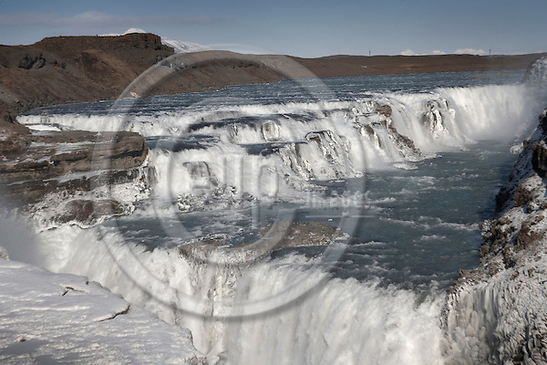 """HAUKADALUR - ICELAND 21. MARCH 2006 -- The waterfall Gullfoss with the river HvÌt·..PHOTO: CHRISTIAN T. JOERGENSEN / EUP-IMAGES..This image is delivered according to terms set out in """"Terms - Prices & Terms"""". (Please see www.eup-images.com for more details)"""