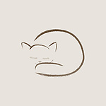 Cute snuggled sleeping cat artistic design based on the original Japanese Zen ink painting artwork. Brown kitten on beige ivory background.