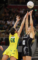 21.07.2007 Silver Ferns Irene Van Dyk and Australian Liz Ellis in action during the Silver Ferns v Australia Netball Test Match at Vodafone Arena, Melbourne Australia. The Silver Ferns won 67-65 after double extra time. Mandatory Photo Credit ©Michael Bradley. **$150 + GST USAGE FEE DOES APPLY**