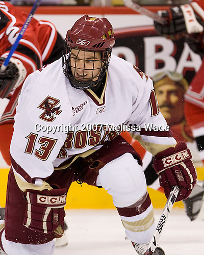Pat Gannon (BC 13) - The Boston College Eagles defeated the Rensselaer Polytechnic Institute Engineers 4-1 in the consolation game of the Ice Breaker Tournament on Saturday, October 13, 2007, at the Xcel Energy Center in St. Paul, Minnesota.