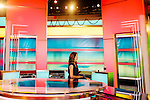 Maria LaRosa, an on-camera meteorologist, inside a studio at The Weather Channel in Atlanta, Georgia May 16, 2013.