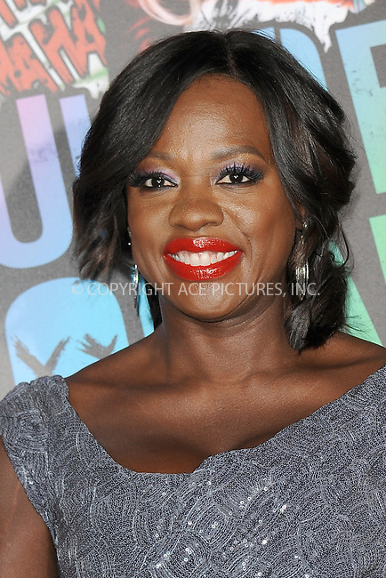 www.acepixs.com<br /> August 1, 2016  New York City<br /> <br /> Viola Davis attending the world premiere of Warner Bros. Pictures and Atlas Entertainment&rsquo;s 'Suicide Squad' at the Beacon Theatre on August 1, 2016 in New York City.<br /> <br /> <br /> Credit: Kristin Callahan/ACE Pictures<br /> <br /> <br /> Tel: 646 769 0430<br /> Email: info@acepixs.com