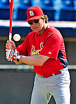 14 March 2010: St. Louis Cardinals' Manager Tony La Russa taps infield grounders prior to a Spring Training game against the Washington Nationals at Space Coast Stadium in Viera, Florida. The Cardinals defeated the Nationals 7-3 in Grapefruit League action. Mandatory Credit: Ed Wolfstein Photo