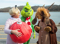 NWA Democrat-Gazette/BEN GOFF @NWABENGOFF<br /> Teachers from Mary Mae Jones Elementary in Bentonville assemble for the plunge Saturday, Feb. 9, 2019, during the Special Olympics Arkansas Beaver Lake Polar Plunge at Prairie Creek recreation area. Teachers and staff from Jones Elementary dressed as characters from Dr. Seuss books, winning best large group in the costume contest. Divers measured the water temperature at 44 degrees Fahrenheit and the air temperature in nearby Rogers rose to 30 degrees Fahrenheit by the time participants dove in, according to the National Weather Service. The annual event is a fundraiser for Special Olympics Arkansas.
