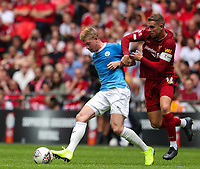Jordan Henderson of Liverpool and Kevin De Bruyne of Manchester City during the FA Community Shield match between Liverpool and Manchester City at Wembley Stadium on August 4th 2019 in London, England. (Photo by John Rainford/phcimages.com)<br /> Foto PHC/Insidefoto <br /> ITALY ONLY