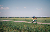 Tim Merlier (BEL/Willems Veranda's - Crelan) trying to break free from his oponenets over the gravel sectors<br /> <br /> Antwerp Port Epic 2018 (formerly &quot;Schaal Sels&quot;)<br /> One Day Race:  Antwerp &gt; Antwerp (207 km; of which 32km are cobbles &amp; 30km is gravel/off-road!)